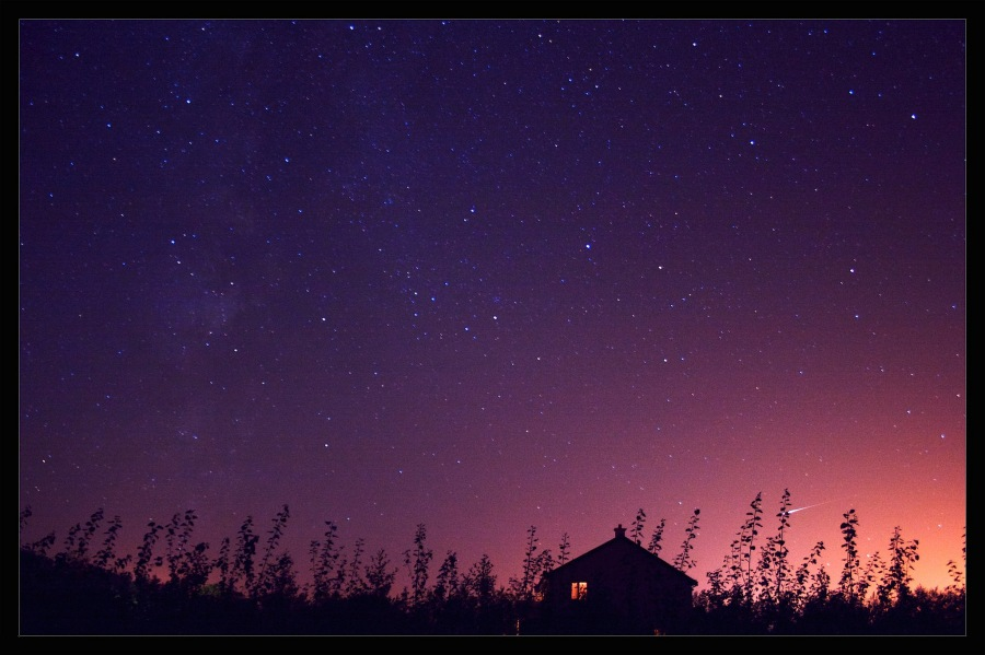 night sky and house